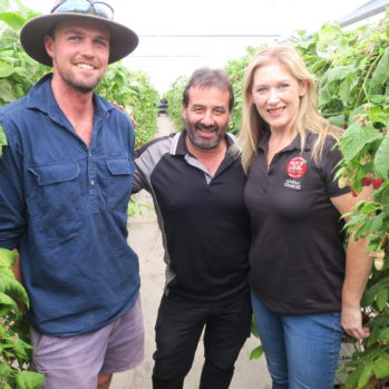 Rhys, Ross and Penny from Pick A Local Pick SA! in the farm